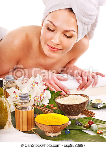 Woman getting spa treatment outdoor. - csp9523997