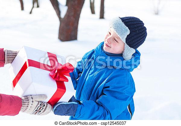 woman gives a Christmas present boy - csp12545037