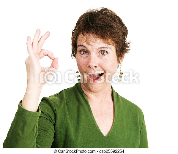 Woman Gives Enthusiastic Okay - csp25592254