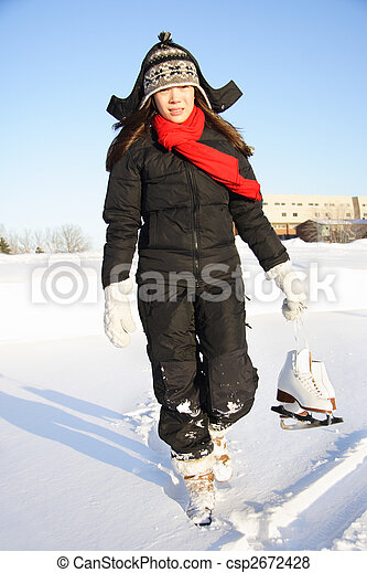 Woman going ice skating - csp2672428