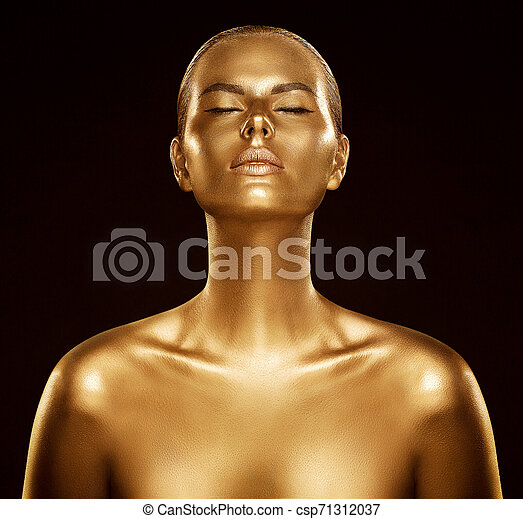 Woman Gold Skin Fashion Model Golden Body Art Beauty Portrait Face And Body Shine As Metal