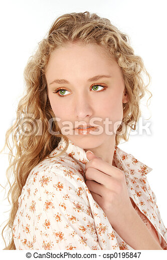 Woman Green Eyes Beautiful Young Woman With Long Curly Blonde