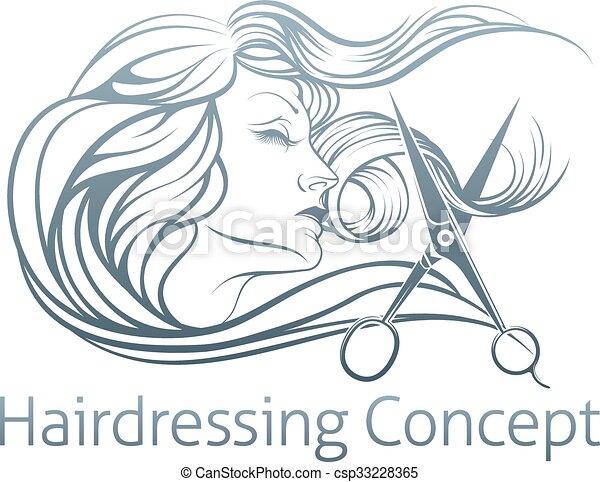 Woman Hairdresser Scissor Concept - csp33228365