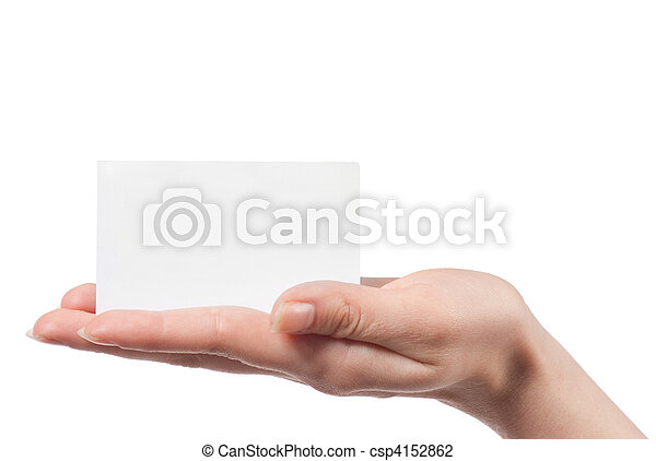 Woman hand holding empty visiting card and pointing on it isolated on white - csp4152862