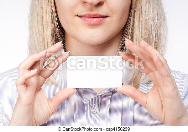 Woman hand holding empty visiting card - csp4150239