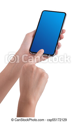 woman hand holding the phone tablet isolated on white background - csp55172129
