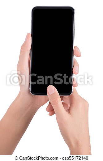 woman hand holding the phone tablet isolated on white background - csp55172140