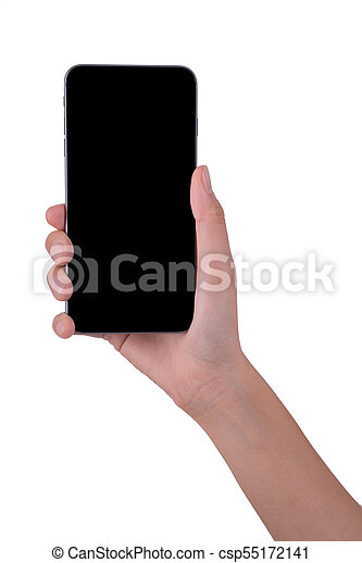 woman hand holding the phone tablet isolated on white background - csp55172141