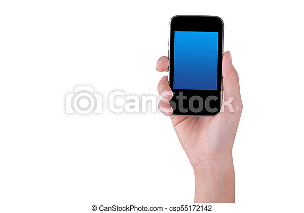 woman hand holding the phone tablet isolated on white background - csp55172142