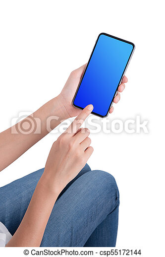 woman hand holding the phone tablet isolated on white background - csp55172144