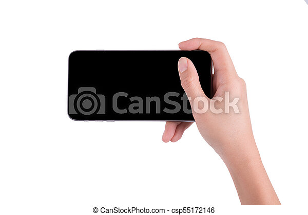 woman hand holding the phone tablet isolated on white background - csp55172146