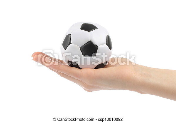 Woman hand with football on white background - csp10810892