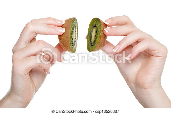 woman hand with kiwi fruit isolated - csp18528887