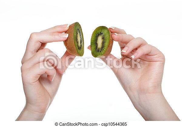 woman hand with kiwi fruit isolated - csp10544365