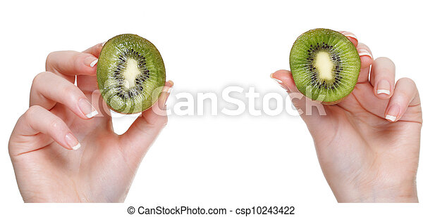 woman hand with kiwi fruit isolated - csp10243422