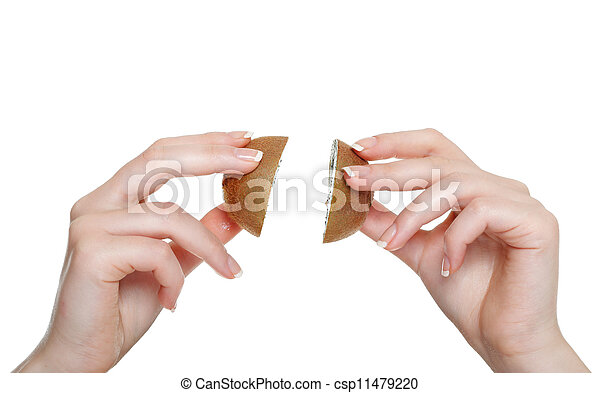 woman hand with kiwi fruit isolated - csp11479220