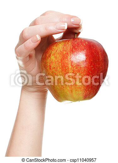 Woman hand with red apple isolated - csp11040957