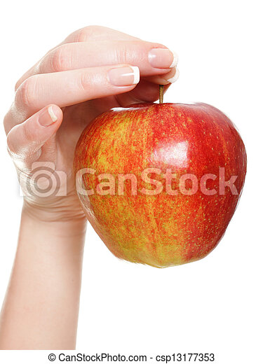 Woman hand with red apple isolated - csp13177353