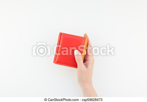 Woman hand with red wallet isolated - csp59628473