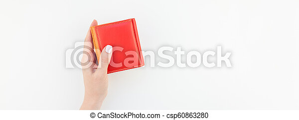 Woman hand with red wallet isolated - csp60863280