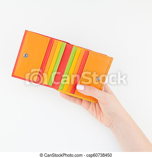 Woman hand with red wallet isolated - csp60738450