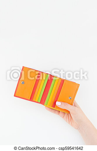 Woman hand with red wallet isolated - csp59541642