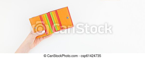 Woman hand with red wallet isolated - csp61424735