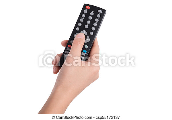 woman hand with television remote control isolated on white background - csp55172137
