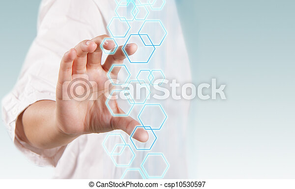 woman hand working on virtual technology interface - csp10530597