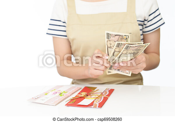 Woman hands hold money - csp69508260