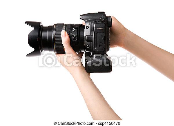 Woman hands holding professional photo camera - csp4158470