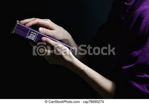 Woman Hands on A Bible - csp78690274