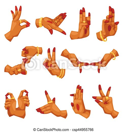 Woman hands with namaste mudra on white background sign and indian yoga language gestures relating to hinduism or buddhism mudras vector illustration. - csp44955766