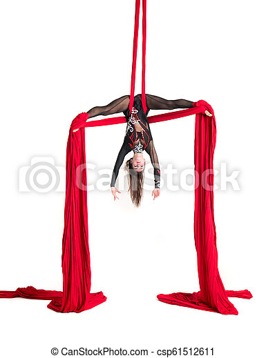 Woman Hanging In Aerial Silks Isolated On White Beautiful