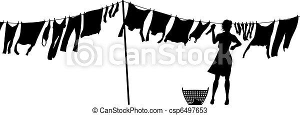 Woman hanging washing - csp6497653