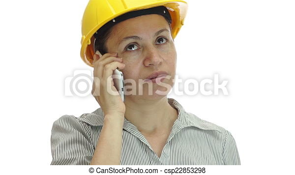 woman hardhat phone uninterested a shot of a bored and uninterested