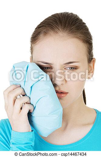 Woman having a terrible tooth ache.  - csp14467434
