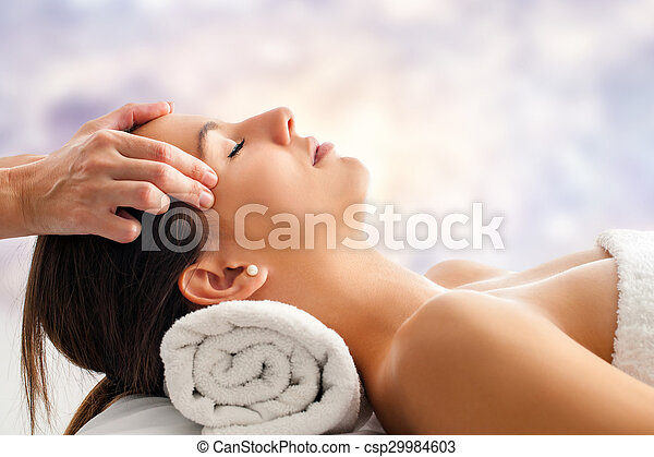 Woman Having Relaxing Facial Massage Close Up Portrait Of Attractive Young Woman Having Relaxing Facial Massage Therapist