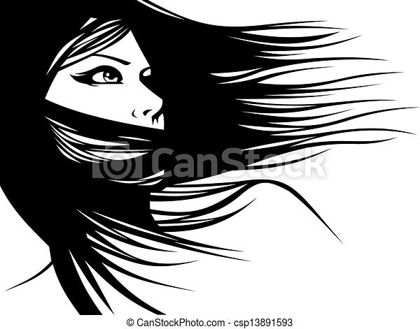 woman head and their hair (hair stylist vector) - csp13891593