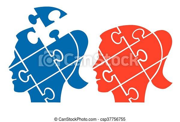 Woman head puzzle - csp37756755