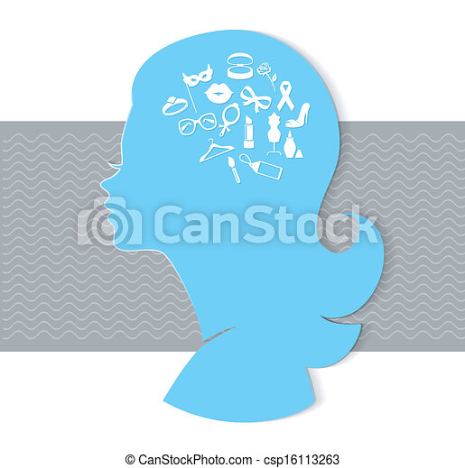 Woman head with icons - csp16113263