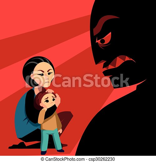 Woman hides the child from male silhouette - csp30262230