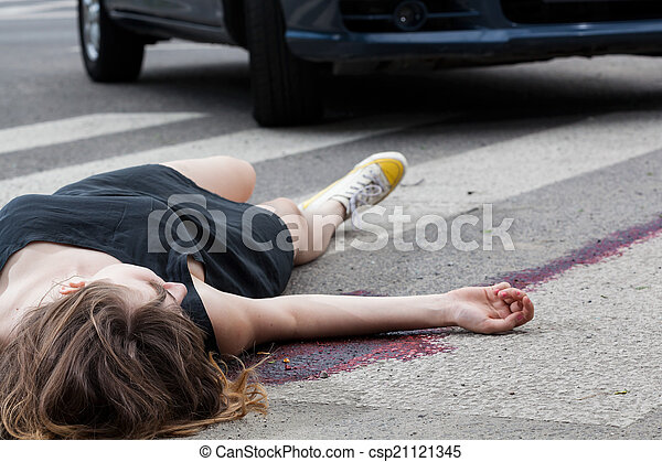 Woman hit by a car - csp21121345