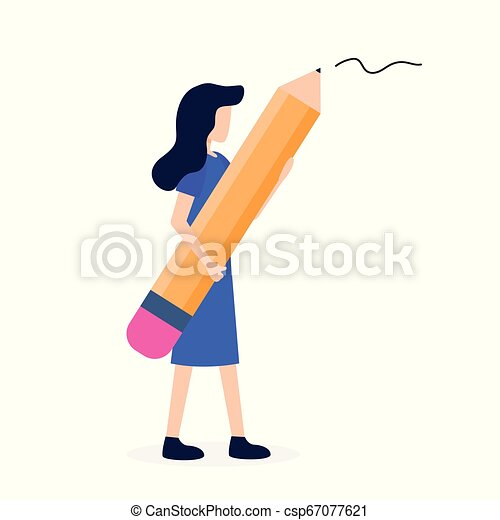 Woman Hold Big in Hand Pencil Writer Stationery - csp67077621