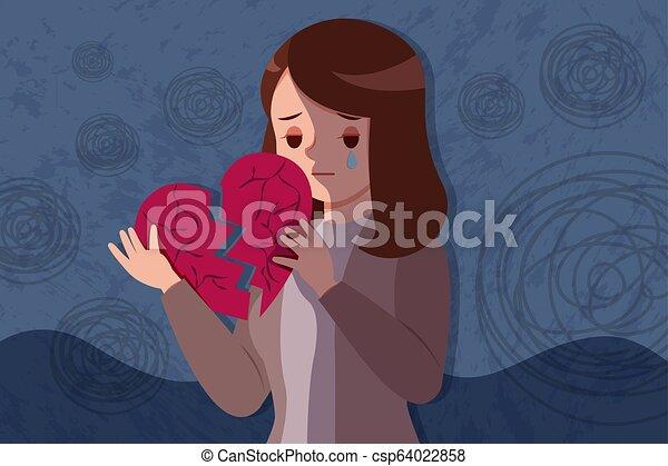 woman hold broken heart - csp64022858