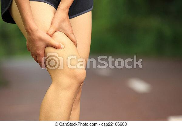woman hold sports injured leg - csp22106600