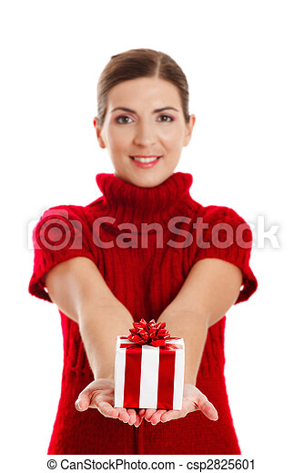Woman holding a gift - csp2825601