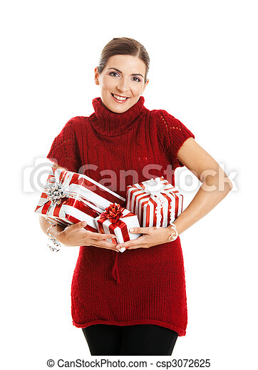 Woman holding a gift - csp3072625
