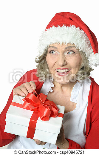 woman holding a gift - csp40945721