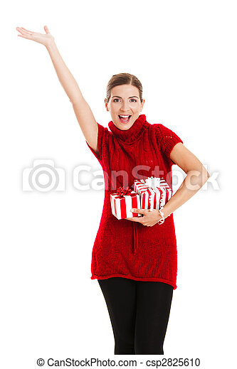 Woman holding a gift - csp2825610